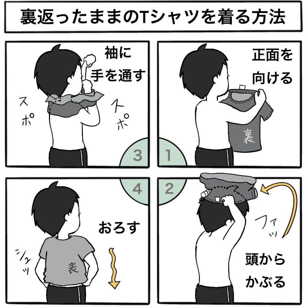 【旦那直伝!】裏返ったままのTシャツを着る方法:4コマ漫画