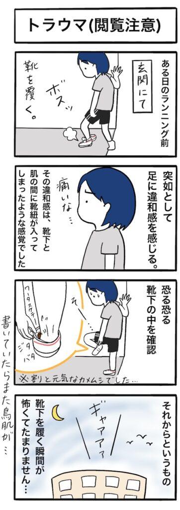 カメムシが靴下の中に入っていた時のトラウマ(閲覧注意):4コマ漫画
