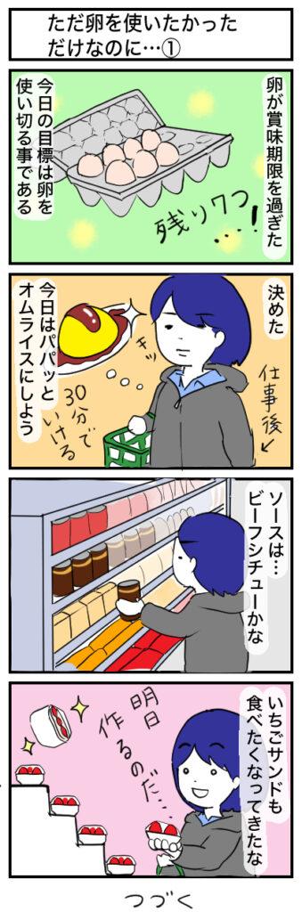 ただ卵を使いたかっただけなのに:4コマ漫画(1)